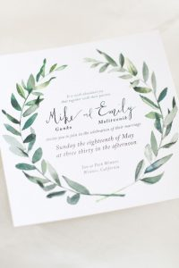 Wedding Invitation with Greenery detail