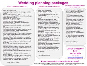 Cheshire Wedding Planning Packages and Prices