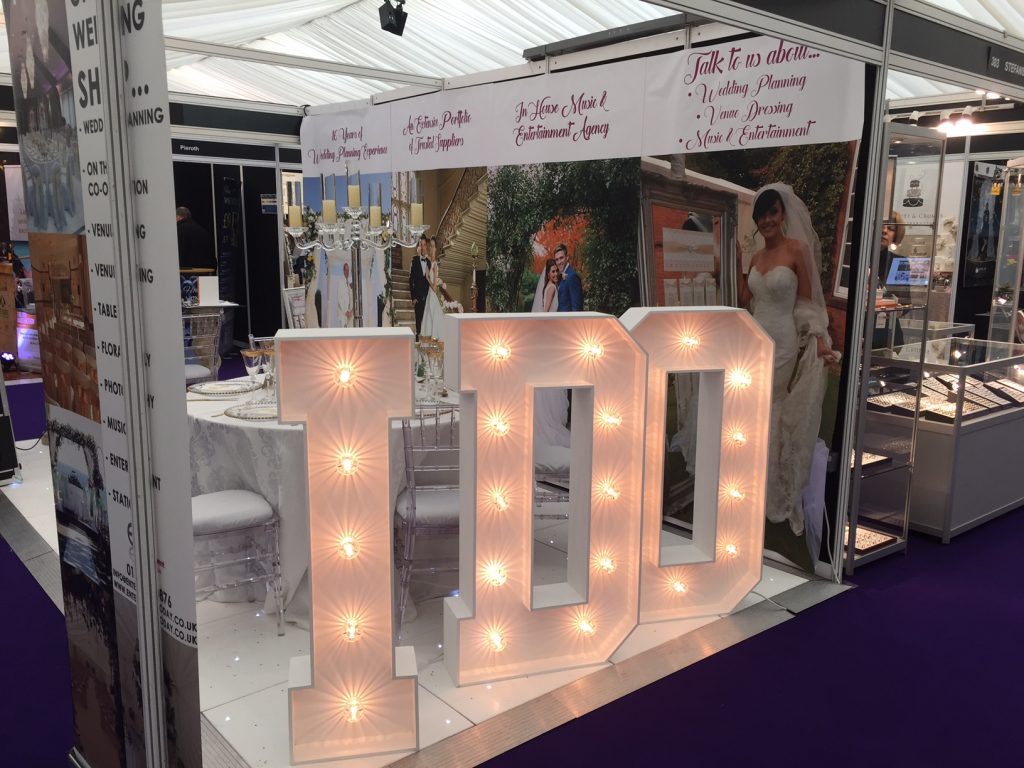 Entertainment Today Celebrity Wedding Planners at Tatton Park with Light up Letters