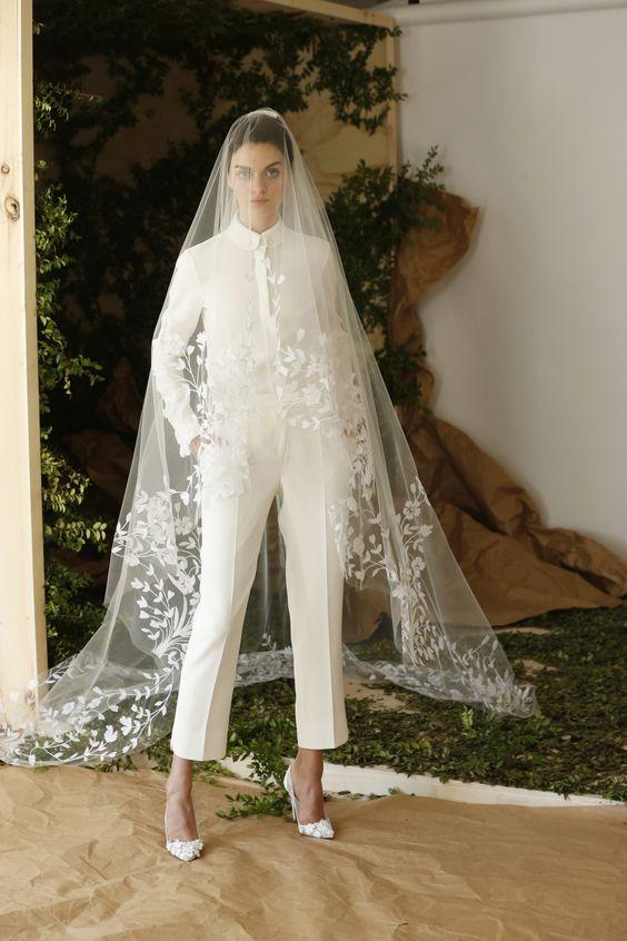 Carolina Herrera Bridal Spring 2017 | #BridalFashionWeek #BridalSuit [Photo: Thomas Iannaccone]