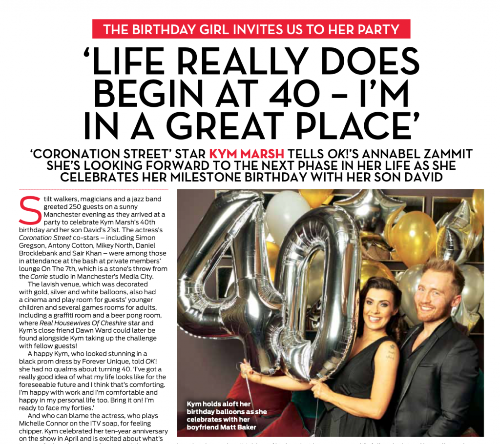 Kym Marsh 40th Birthday Party OK Magazine